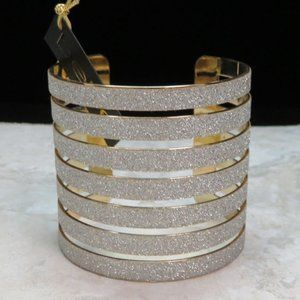 Bebe gold and glitter sparkly cuff bracelet